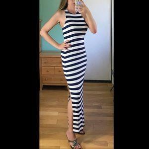 Stripe white & blue racerback Maxi dress